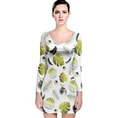 Tropical pattern Long Sleeve Velvet Bodycon Dress