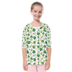 Tropical pattern Kids  Quarter Sleeve Raglan Tee