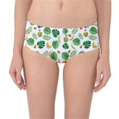 Tropical pattern Mid-Waist Bikini Bottoms