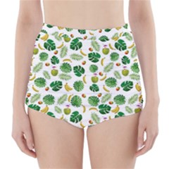 Tropical pattern High-Waisted Bikini Bottoms