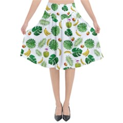 Tropical pattern Flared Midi Skirt