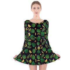 Tropical pattern Long Sleeve Velvet Skater Dress