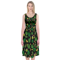 Tropical pattern Midi Sleeveless Dress