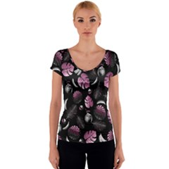 Tropical pattern Women s V-Neck Cap Sleeve Top