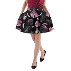Tropical pattern A-Line Pocket Skirt