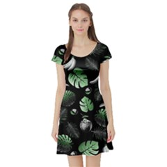 Tropical pattern Short Sleeve Skater Dress