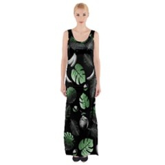Tropical pattern Maxi Thigh Split Dress