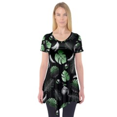 Tropical pattern Short Sleeve Tunic