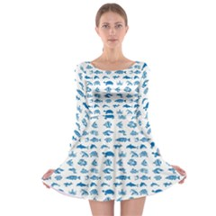 Fish pattern Long Sleeve Skater Dress