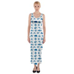 Fish pattern Fitted Maxi Dress