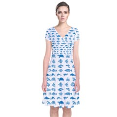 Fish pattern Short Sleeve Front Wrap Dress