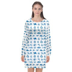 Fish Pattern Long Sleeve Chiffon Shift Dress
