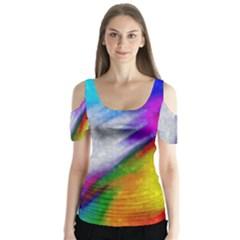 Rainbow colors                 Butterfly Sleeve Cutout Tee