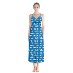Fish Pattern Button Up Chiffon Maxi Dress