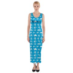 Fish pattern Fitted Maxi Dress