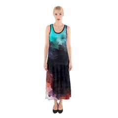 Paint strokes and splashes              Full Print Maxi Dress