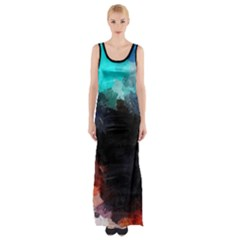 Paint strokes and splashes              Maxi Thigh Split Dress
