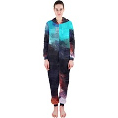 Paint strokes and splashes              Hooded Jumpsuit (Ladies)