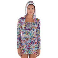 Colorful splatters               Women s Long Sleeve Hooded T-shirt