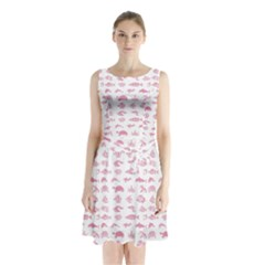 Fish pattern Sleeveless Waist Tie Chiffon Dress