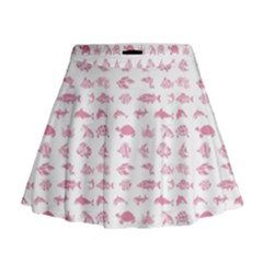 Fish pattern Mini Flare Skirt