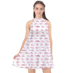 Fish Pattern Halter Neckline Chiffon Dress