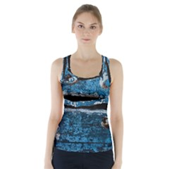 Blue painted wood                 Racer Back Sports Top