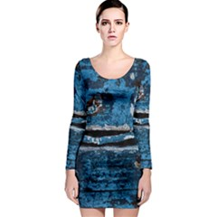 Blue painted wood                Long Sleeve Bodycon Dress
