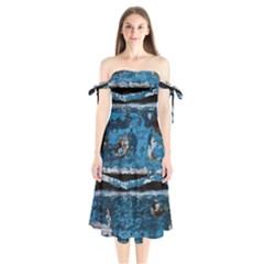 Blue Painted Wood        Shoulder Tie Bardot Midi Dress