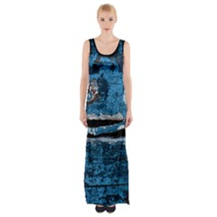Blue painted wood                Maxi Thigh Split Dress