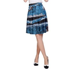 Blue painted wood                A-line Skater Skirt