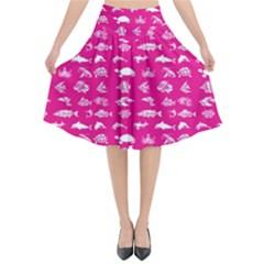 Fish Pattern Flared Midi Skirt