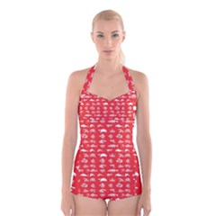 Fish pattern Boyleg Halter Swimsuit