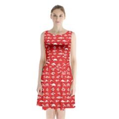Fish pattern Sleeveless Waist Tie Chiffon Dress