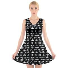 Fish pattern V-Neck Sleeveless Skater Dress
