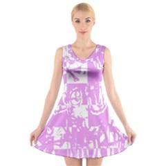 Pink Graffiti Skull V-Neck Sleeveless Skater Dress