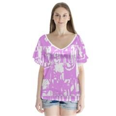 Pink Graffiti Skull Flutter Sleeve Top