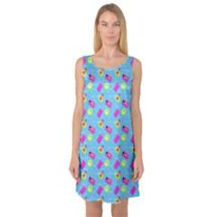 Summer Pattern Sleeveless Satin Nightdress