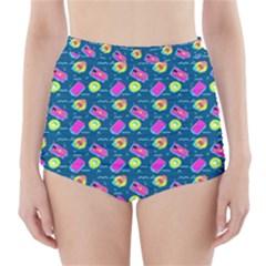 Summer pattern High-Waisted Bikini Bottoms