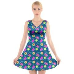 Summer Pattern V Neck Sleeveless Skater Dress