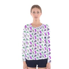 Dinosaurs pattern Women s Long Sleeve Tee