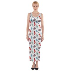 Dinosaurs pattern Fitted Maxi Dress