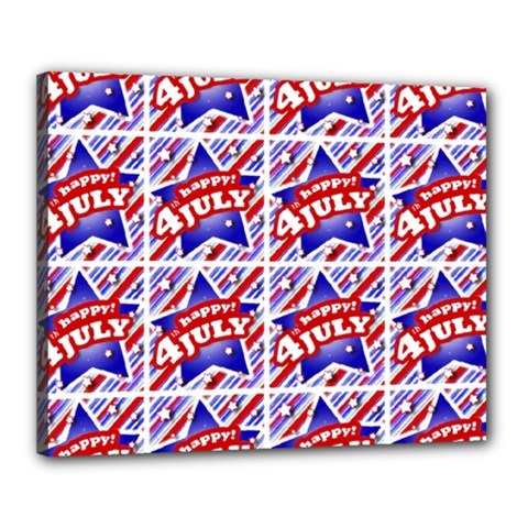 Happy 4th Of July Theme Pattern Canvas 20  x 16