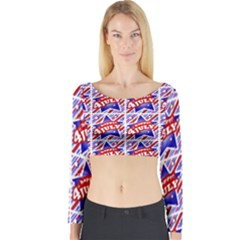 Happy 4th Of July Theme Pattern Long Sleeve Crop Top