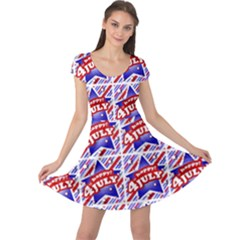 Happy 4th Of July Theme Pattern Cap Sleeve Dresses