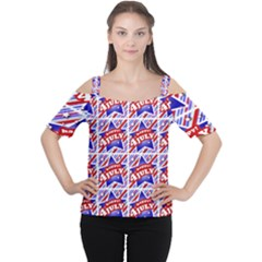 Happy 4th Of July Theme Pattern Women s Cutout Shoulder Tee