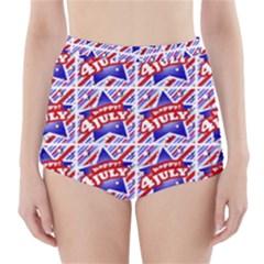 Happy 4th Of July Theme Pattern High-Waisted Bikini Bottoms