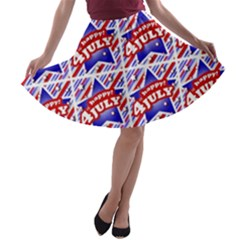 Happy 4th Of July Theme Pattern A-line Skater Skirt