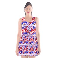 Happy 4th Of July Theme Pattern Scoop Neck Skater Dress