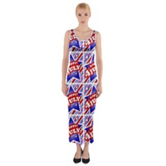 Happy 4th Of July Theme Pattern Fitted Maxi Dress